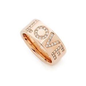 Michael Kors MK Crystal Pave LOVE Rose Gold Ring